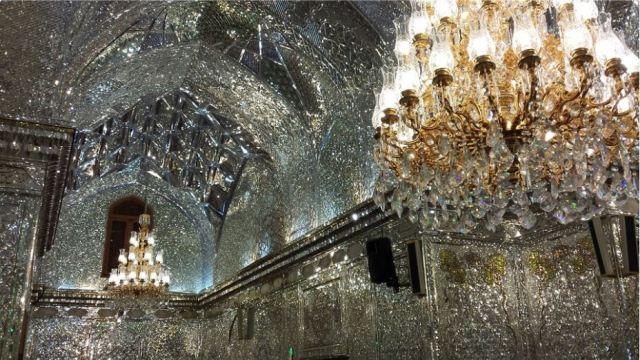 Mirrors... lots of mirrors. Inside Shah e-Charagh, Shiraz. Photo: Peninsularity Ensues.