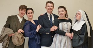 """Appearing in Penn Manor High School's """"Sound of Music"""" are, from left, Paul Harrold (Max), Alyssa Crook (The Baronness), Alex Davis (Capt. Georg von Trapp), Abby Geiger (Maria) and Haley Hoffer (Mother Abbess)."""
