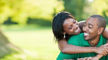 African American couple outside
