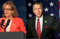 Incumbent Democratic Sen. Kay Hagan (left) and Republican challenger Thom Tillis (right). (Photo Fox46Carolinas/AP)