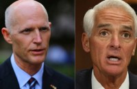 Republican Gov. Rick Scott (left) and Republican-turned-independent-turned Democrat Charlie Crist (right). (Photo: Joe Raedle/Getty Images; Chip Somodevilla/Getty Images)