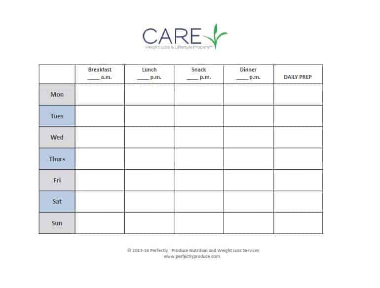CARE Lifestyle Program Meal Plan Template