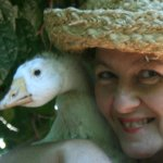 April and Snowy her hand-raised goose