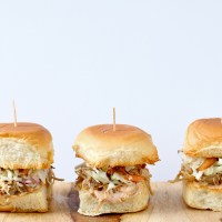Kalua Pig Sliders with Coleslaw and Fried Onions