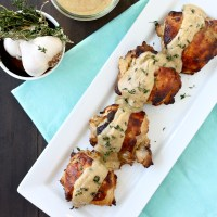 Roasted Chicken with Garlic Buttermilk Cream Sauce
