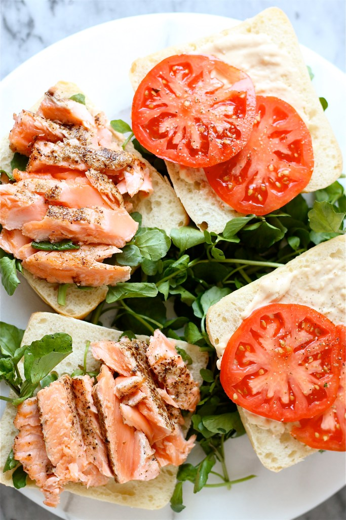 Grilled Salmon Sandwiches with Sesame Aioli