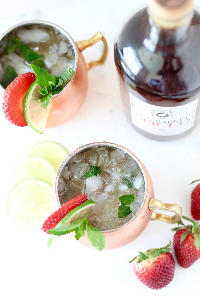 Strawberry-Lime Spiced Rum Moscow Mule