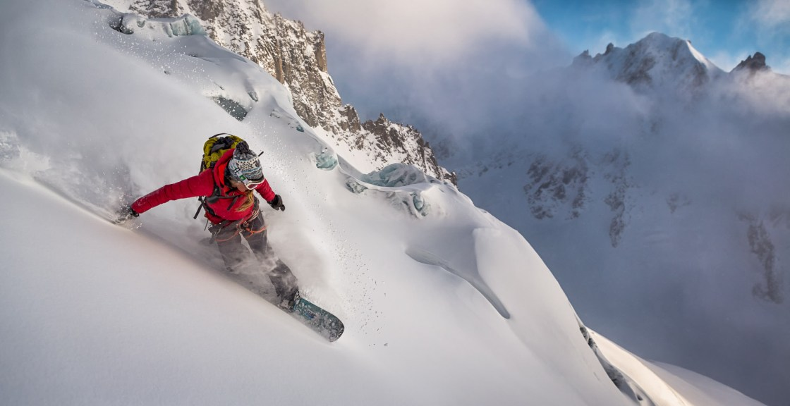 Liz Daley rides Glacier des Améthystes, Chamonix, France