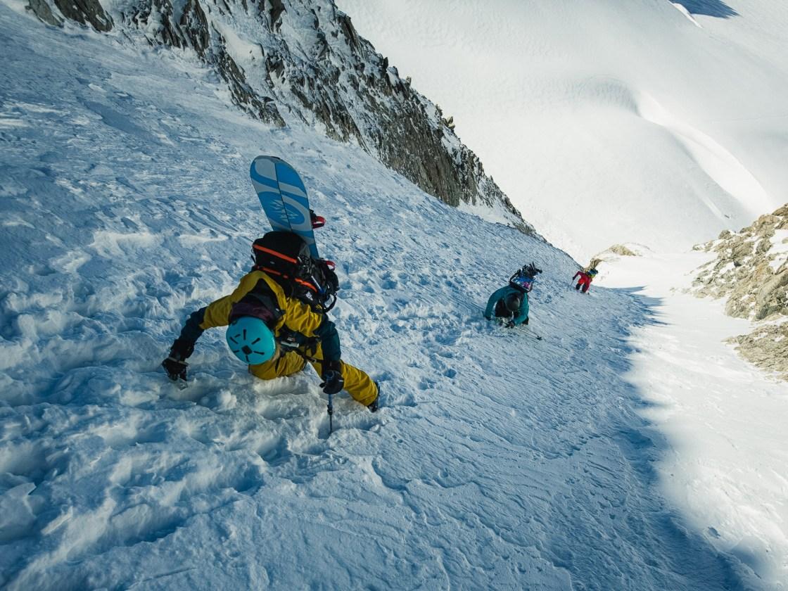 Bibi Pekarek, Maria DeBari and Liz Daley limbing Aiguille de l'A Neuve, Chamonix, France