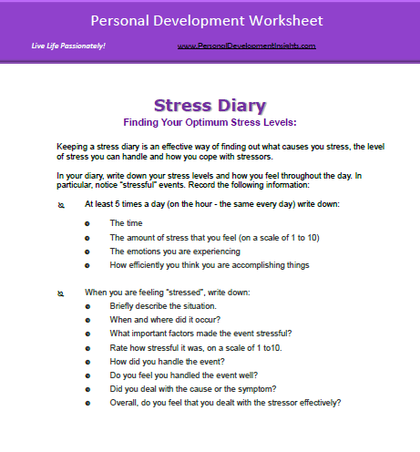Personal Development Worksheets on Managing Stress