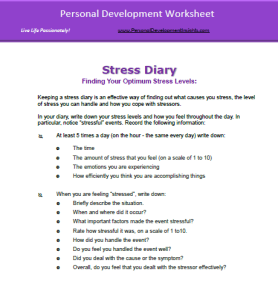Personal Development Worksheet Stress Management