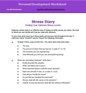 Personal Development Worksheet Stress Management