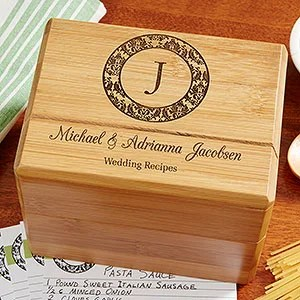 Personalized Wedding Recipe Box - Family Monogram - Wedding Gifts