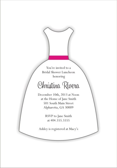 Wedding Dress Die Cut Bridal Shower Invitation ...