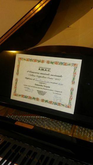 Il diploma del primo premio