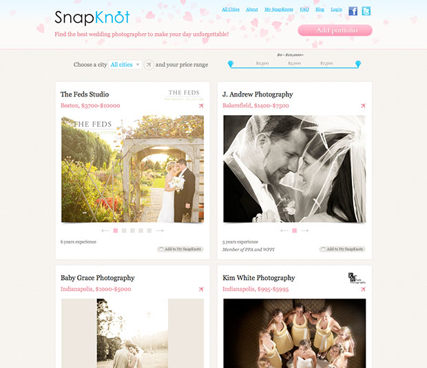SnapKnot Offers Visual Browsing of Local Wedding Photographers snapknotscreen