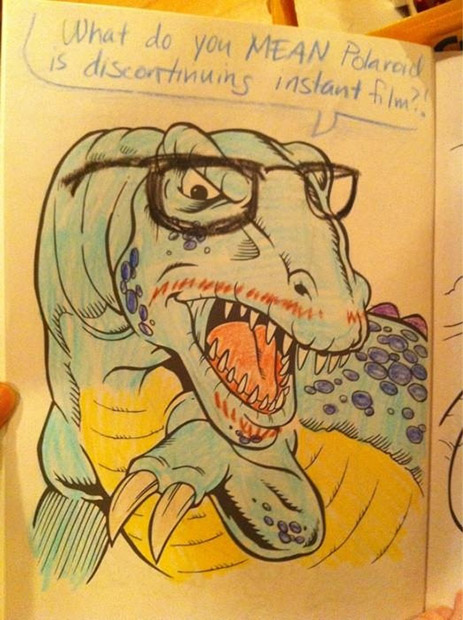 Hipster Dinosaur Loves His Polaroid Instant Film hipsterdino