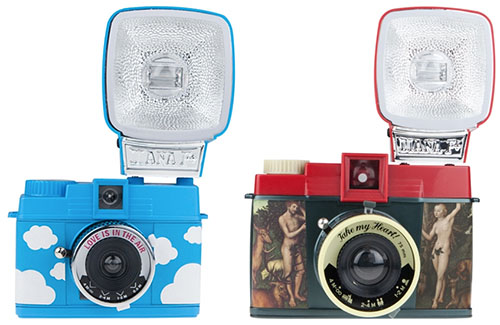 Two Love Themed Diana Cameras for Valentines Day valentinescamerasbylomography