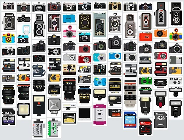 100 Cameras, Lenses, and Accessories Turned into Pixel Illustrations pixelatedgear
