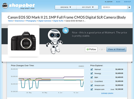 Track Camera Gear Prices Over Time with Shopobot shopobot
