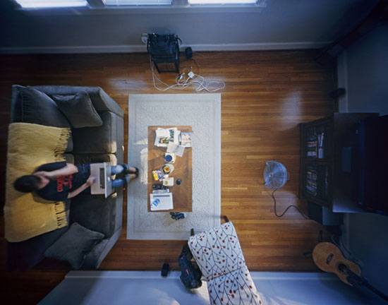 Photographs of Living Spaces Shot with a Ceiling Mounted Pinhole Camera fly1