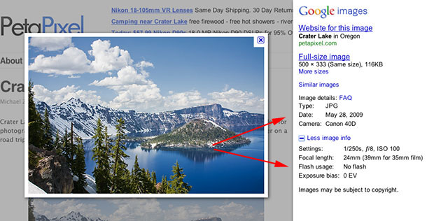 Google Adds EXIF Data to Image Search googleexif