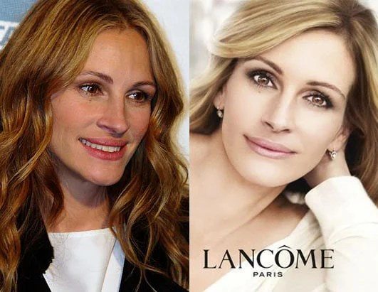Julia Roberts Makeup Ads Banned in UK for Too Much Photoshop lancomeroberts