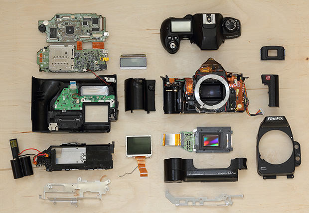Exploded Camera: The Fujifilm S2 Pro exploded mini