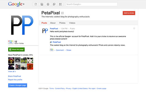 Add PetaPixel to Your Google+ Circles! petapixelgp mini