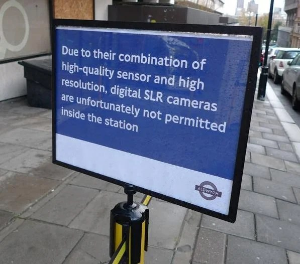 DSLRs Banned from UK Tube Station sign mini