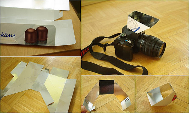 Turn a Used Candy Box Into a Mirrored Pop Up Flash Bounce Reflector reflector1 mini