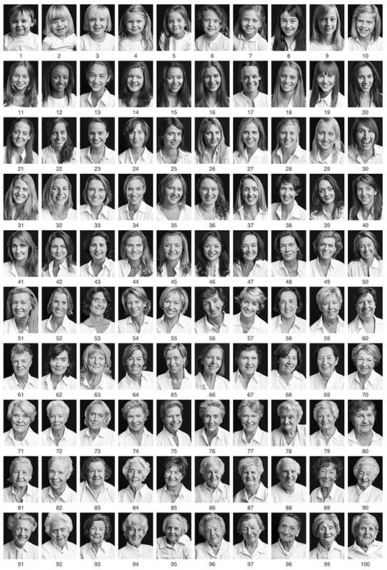 100 Portraits of Women and Men Between the Ages of 1 and 100 110women mini