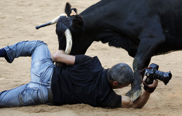 Reuters Photog Gets Into a Fight With a Bull, Somehow Saves His Camera 