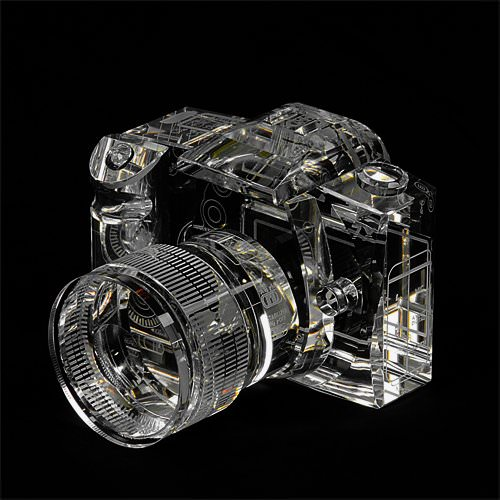 Beautiful Crystal DSLR Bookends Make Holding Up Books a Snap 