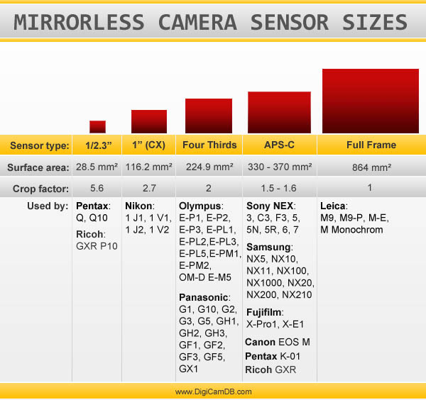 A Graphical Comparison of Mirrorless Camera Sensors Sizes mirrorlesssensors