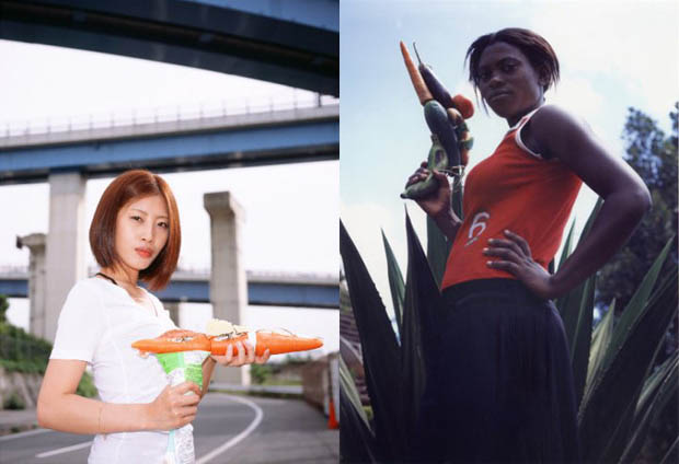Photos of Women Holding Vegetables as Weapons veggun5