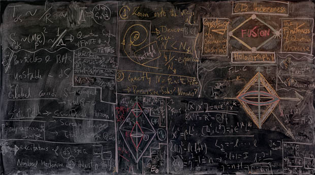 Momentum: Photos of Quantum Mechanic Calculations Scribbled on Chalkboards blackboard 2
