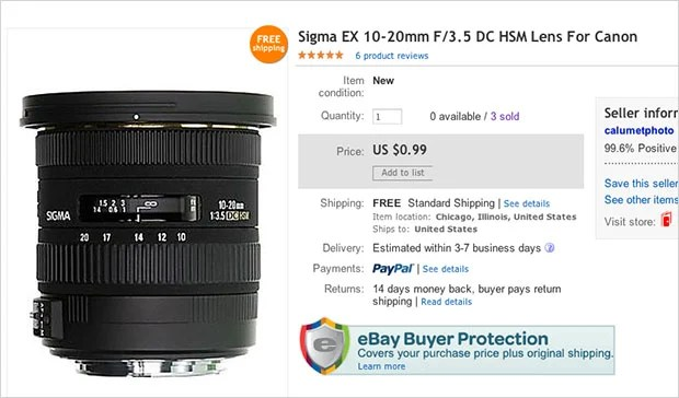 Oops: Calumet Accidentally Sells $600 Lens on eBay for $1    Three Times ebaylisting