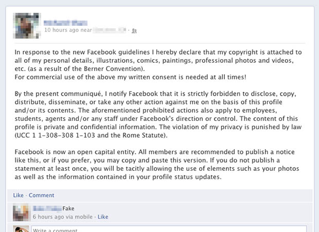 Viral Hoax Facebook Update is Powerless to Protect Your Photo Copyrights hoax