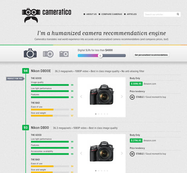 Cameratico: A Sleek Camera Comparison Engine Based on Human Experience cameratico1