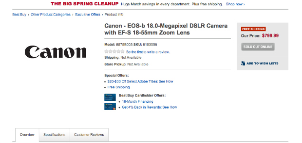 Best Buy Leaks Detailed Canon EOS b Spec List bbyleak1