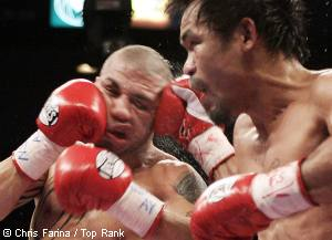 """11/14/09,Las Vegas,Nevada  ---  Manny """"Pacman"""" Pacquiao(R),General Santos,Philippines  stops Miguel Cotto, Caguas, Puerto Rico in the 12th round Saturday night at the MGM Grand in Las Vegas.  --- Photo Credit : Chris Farina - Top Rank  (no other credit allowed)  copyright 2009"""