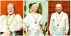 COUNTRY'S GEMS The three living and recently declared National Artists (from left) Cirilo F. Bautista for literature; Alicia Garcia Reyes for dance and Ramon P. Santos for music (Photos by Noel Pabalate )