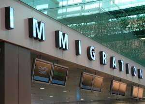 Big signboard of Immigration at the airport