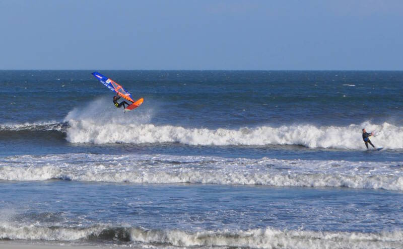 Phil Soltysiak aerial at Izabelles, Cape Hatteras, North Carolina. Photo by Brian Klauser.