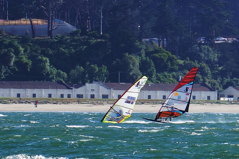 CAN 9 Phil Soltysiak in the lead slalom windsurfing the San Francisco Bay - Photo by Greg Schreier