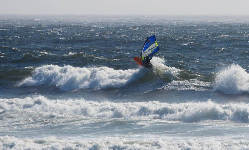 Phil Soltysiak windsurfing the Oregon Coast - Photo by Lawrence Stewart