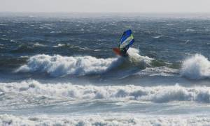 Phil Soltysiak windsurfing the Oregon Coast - Photo by Lawrence Stewart