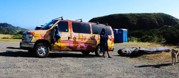 Phil Soltysiak with the Escape Campervan - Photo by Lawrence Stewart