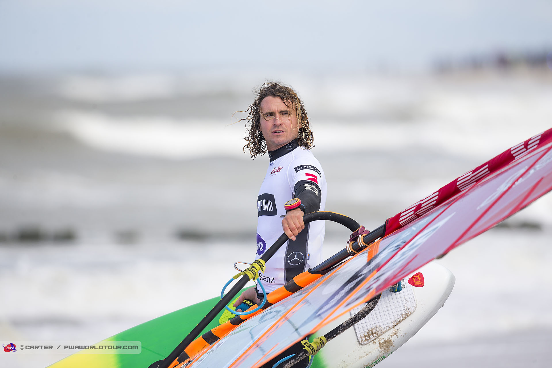 Phil Soltysiak checking the flags at the PWA World Cup Sylt Grand Slam